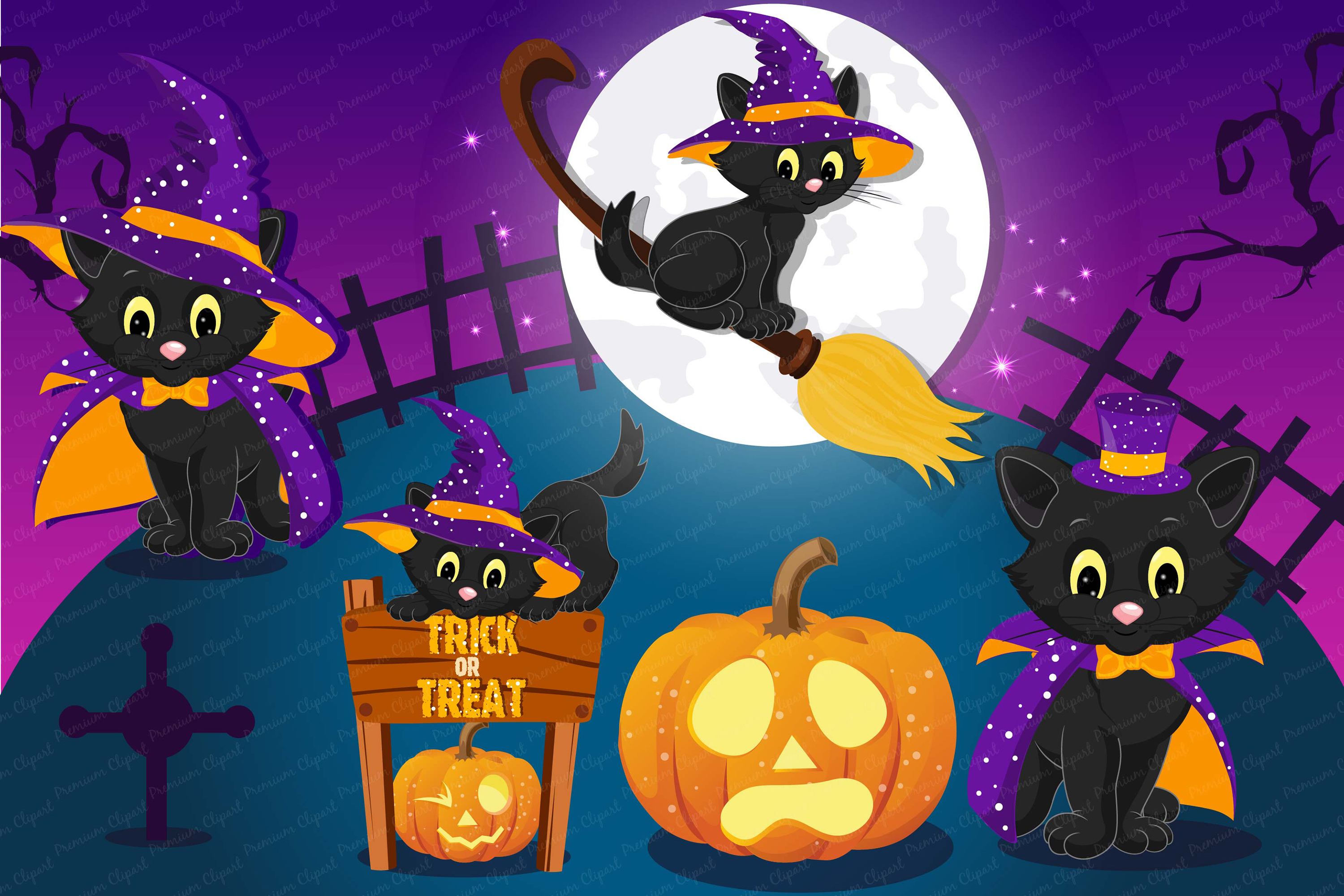 Halloween bundle, Halloween illustrations, Halloween pumpkin example image 2