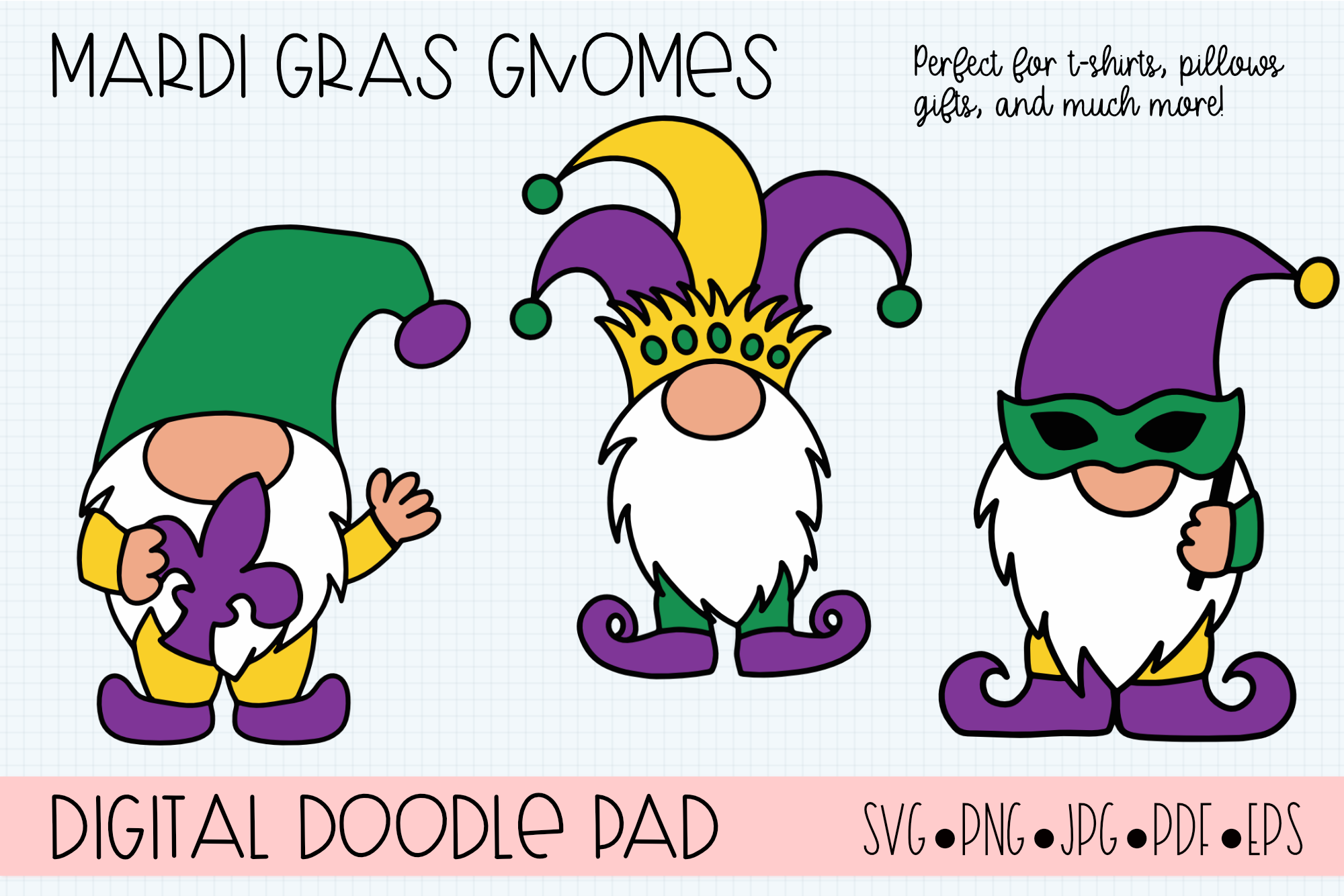 Mardi Gras Gnomes SVG, Silhouette and Cricut Cut Files example image 1