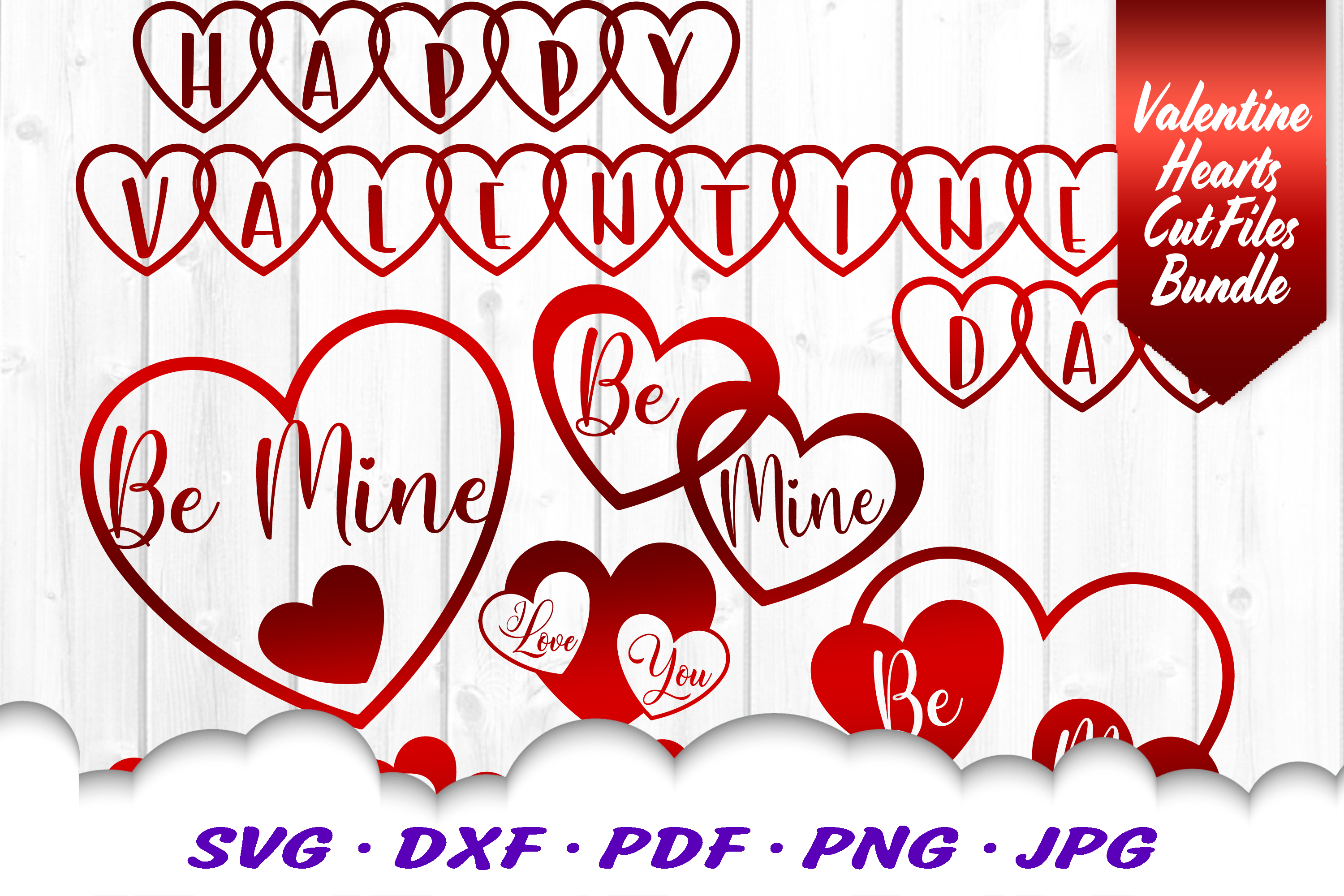 Valentines Day Hearts SVG DXF Cut Files Bundle example image 2