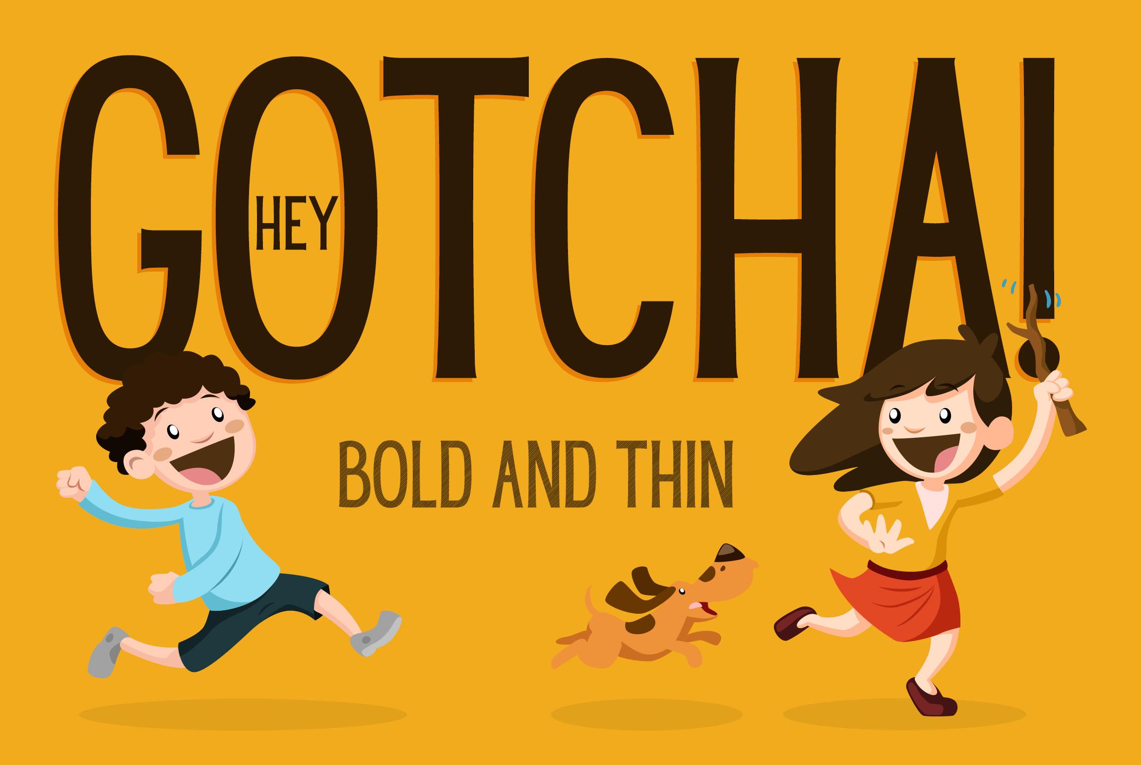 Hey Gotcha! Font - Bold & Thin example image 1