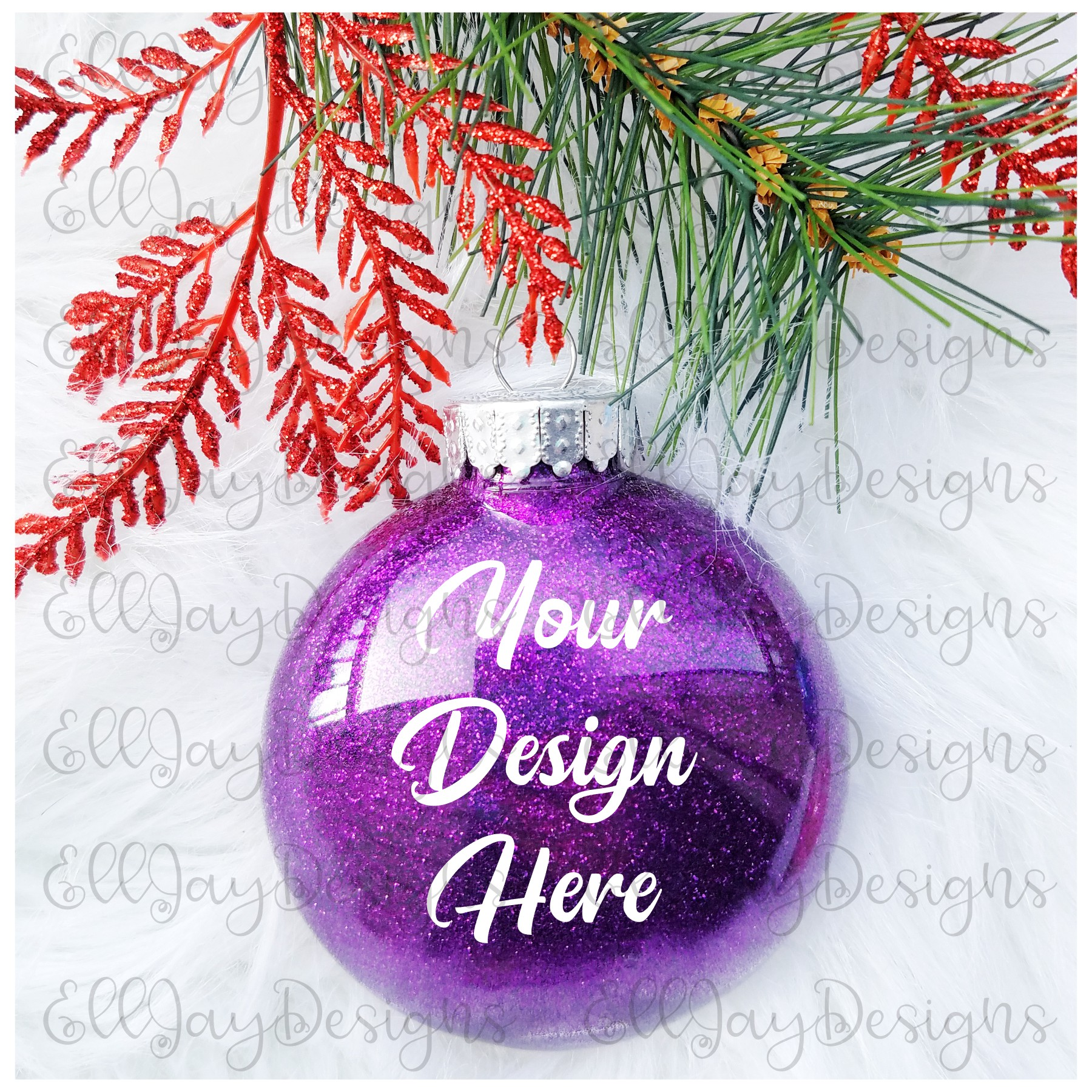 Purple Christmas Glitter Ornament Mock up example image 2