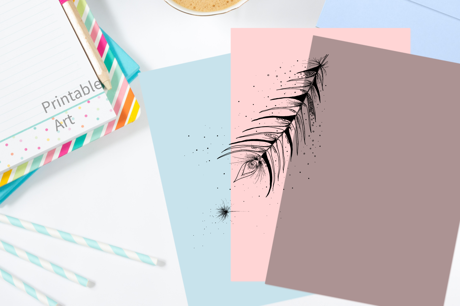 Tribal Feather Floral Ink Art, A1, SVG example image 4
