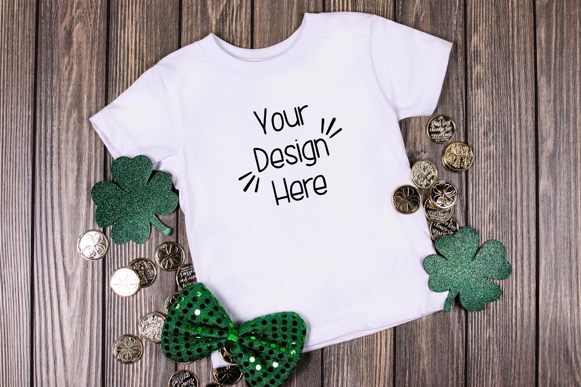 March Toddler Shirt Mockup White 2| St Patricks Day Shirt example image 1
