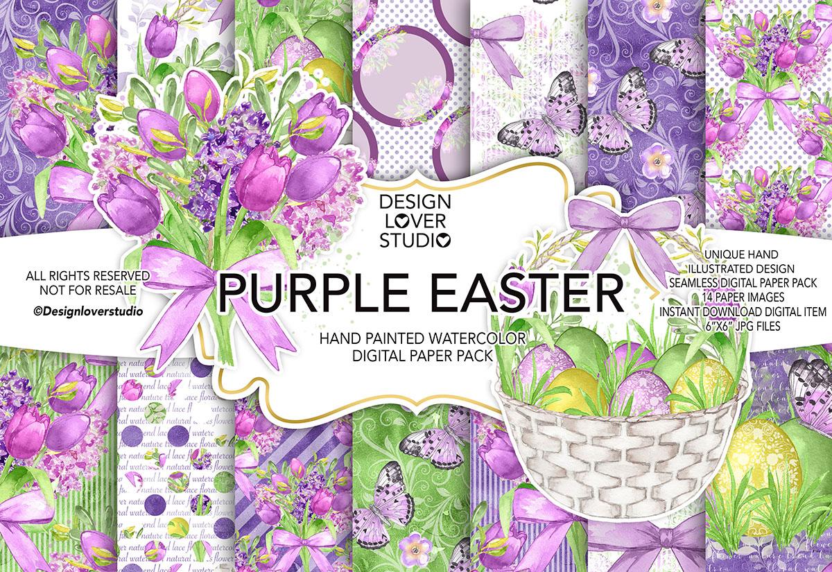 Watercolor PURPLE EASTER digital paper pack example image 1