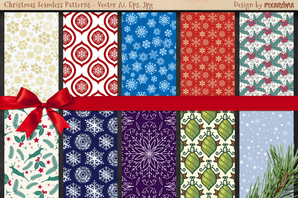 50 Christmas Seamless Patterns example image 6