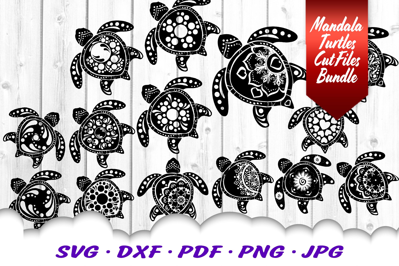 BIG Mandala Sea Turtle SVG DXF Cut Files Bundle example image 2