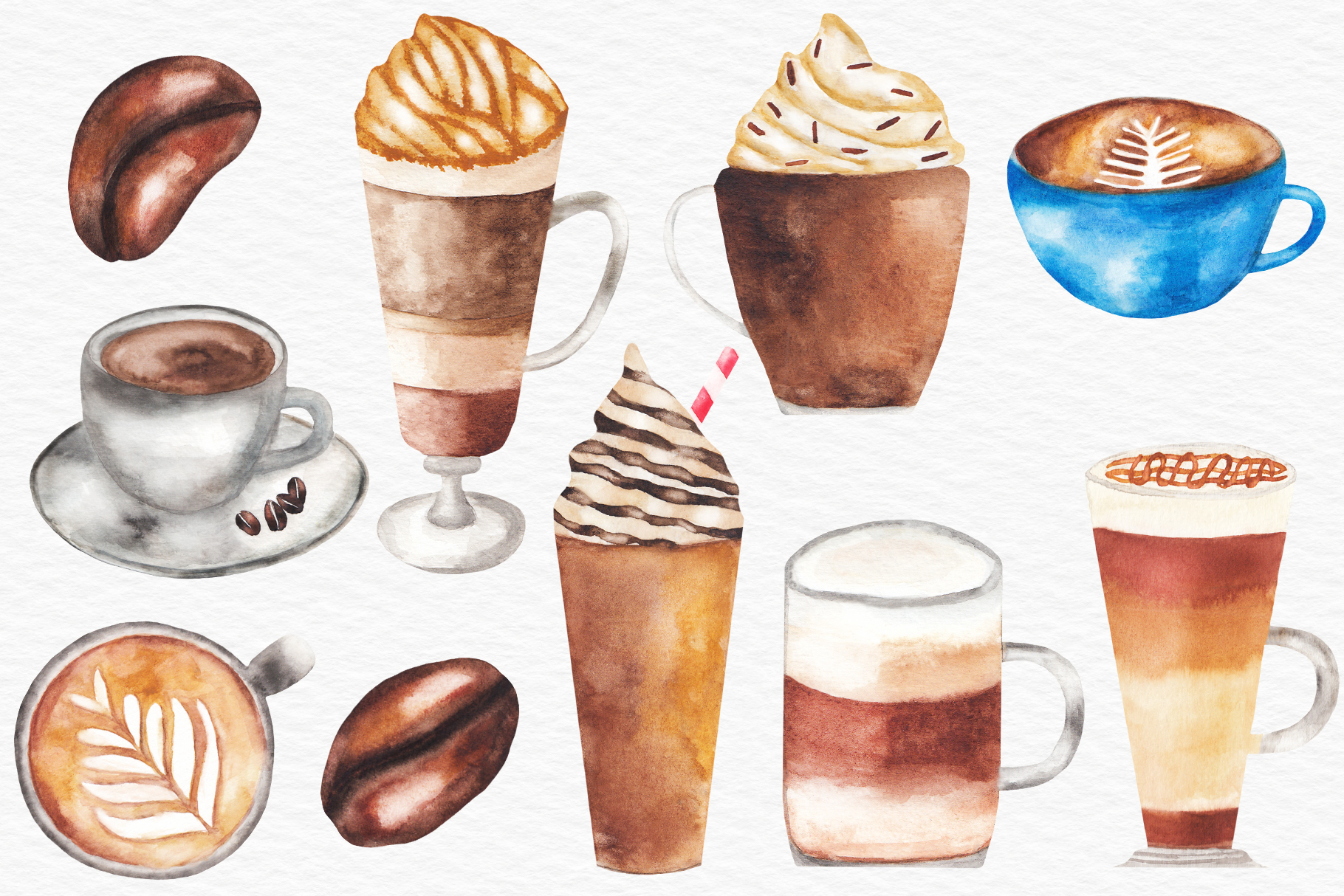 Watercolor Coffee Illustration, Coffee Clipart example image 2
