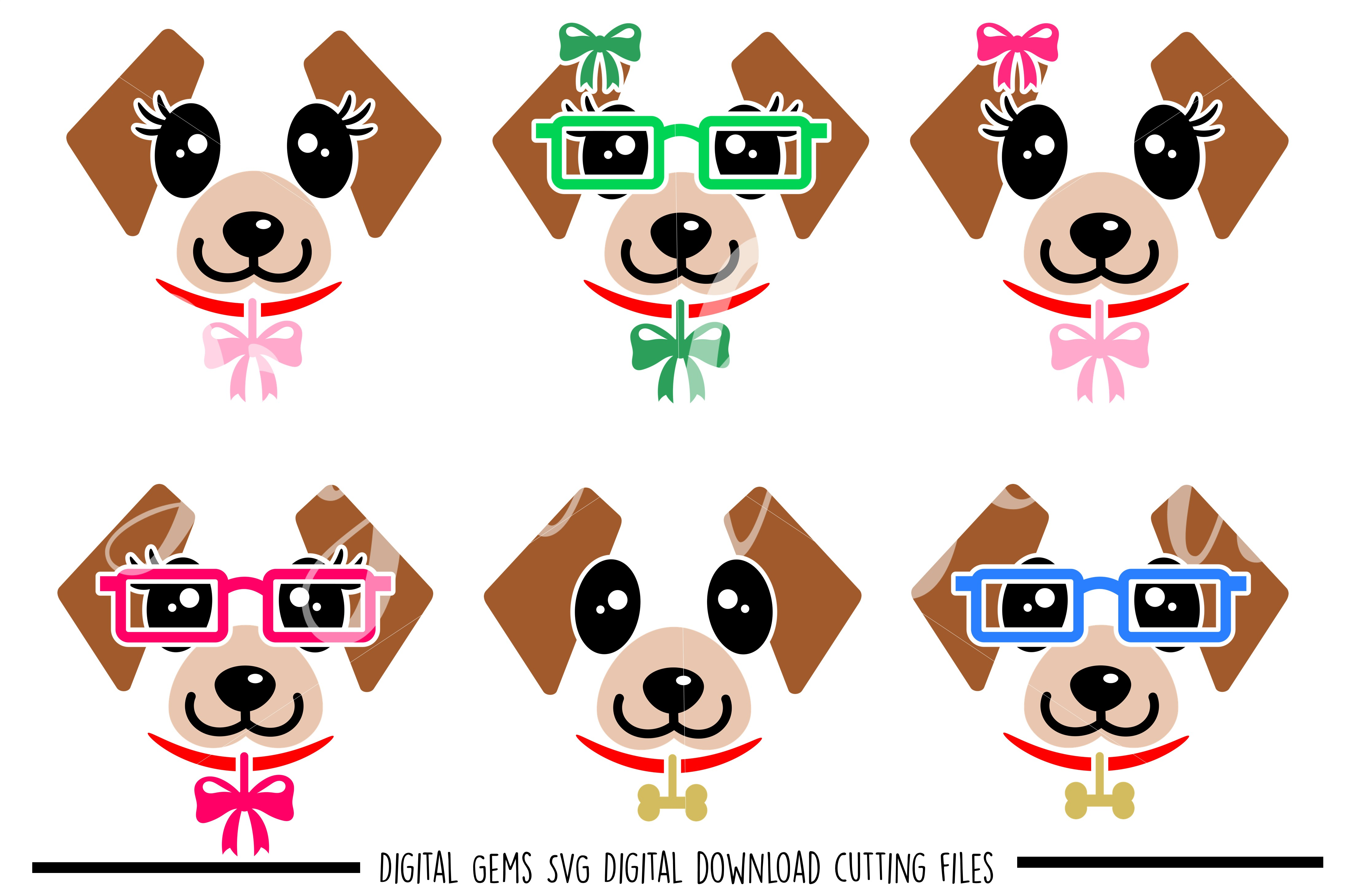 Dog Faces SVG / DXF / EPS / PNG files example image 1