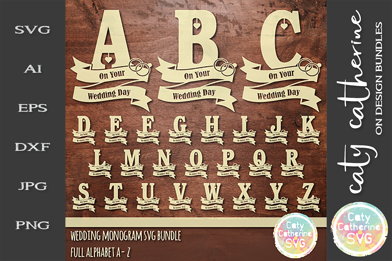 Wedding Monogram Ribbon SVG Bundle Full Alphabet A To Z SVG example image 1