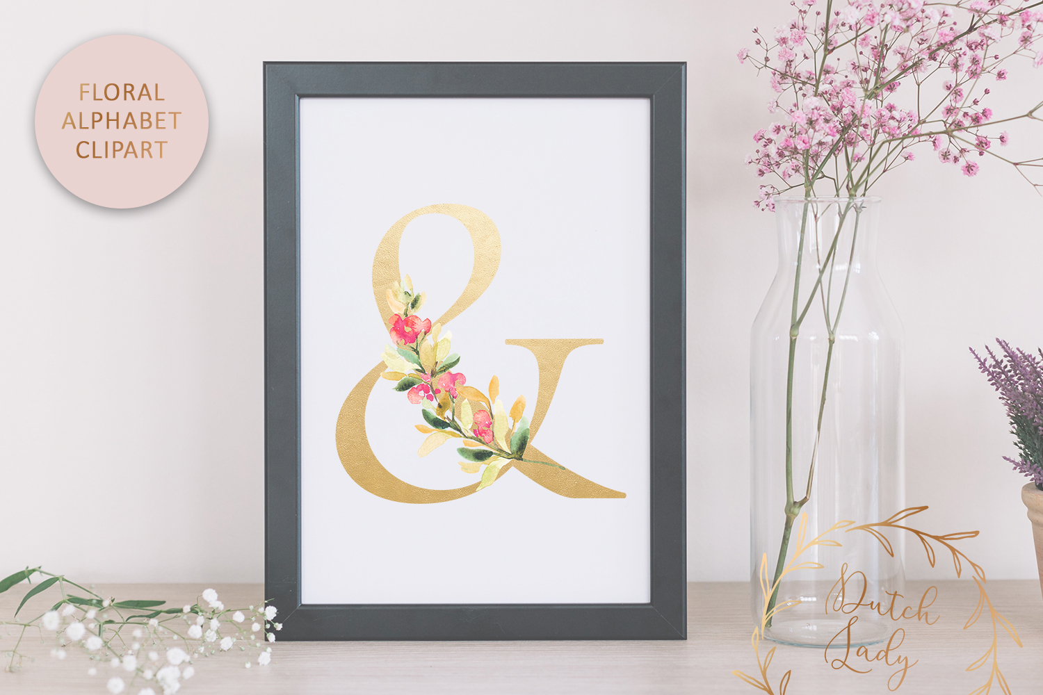Floral Alphabet & Number Clipart Set #2 example image 6