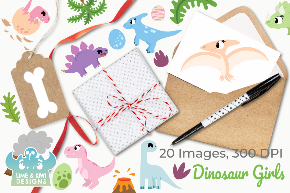 Dinosaur Girls Clipart, Instant Download Vector Art example image 4