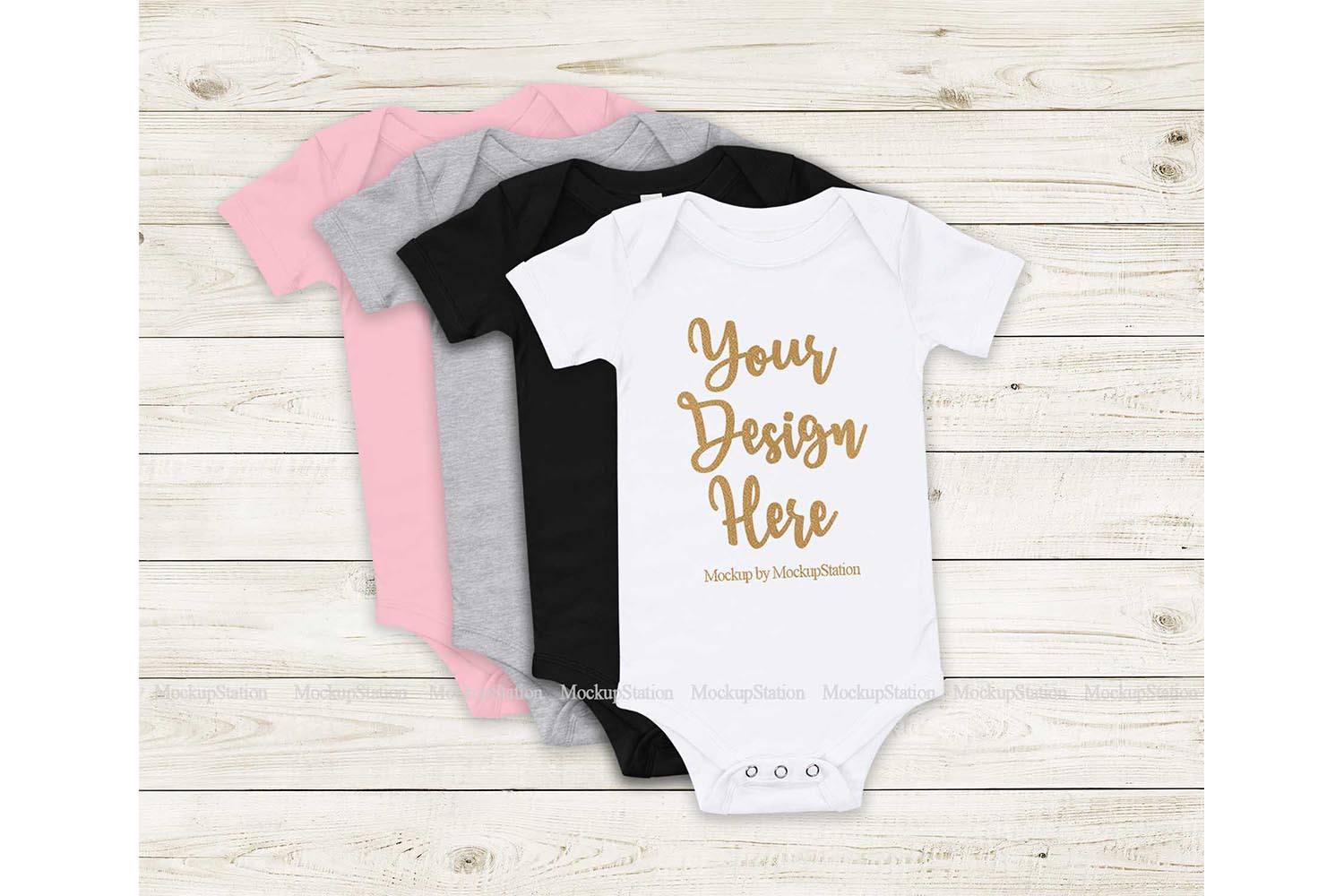 Baby Bodysuit Mockup, Stacked Infant Flat Lay Display Set example image 1