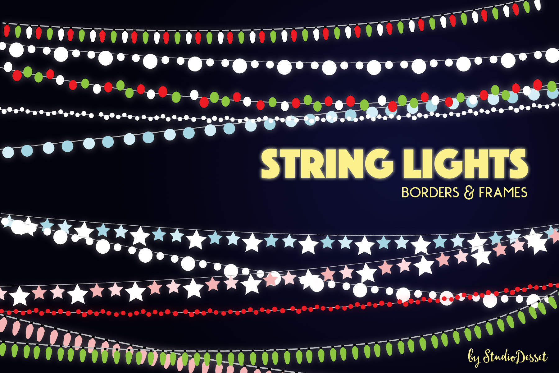 String Lights - Borders and Frames Illustrations example image 1