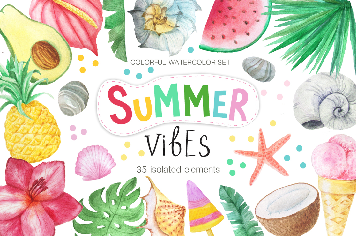 Watercolor Summer Vibes Set example image 1