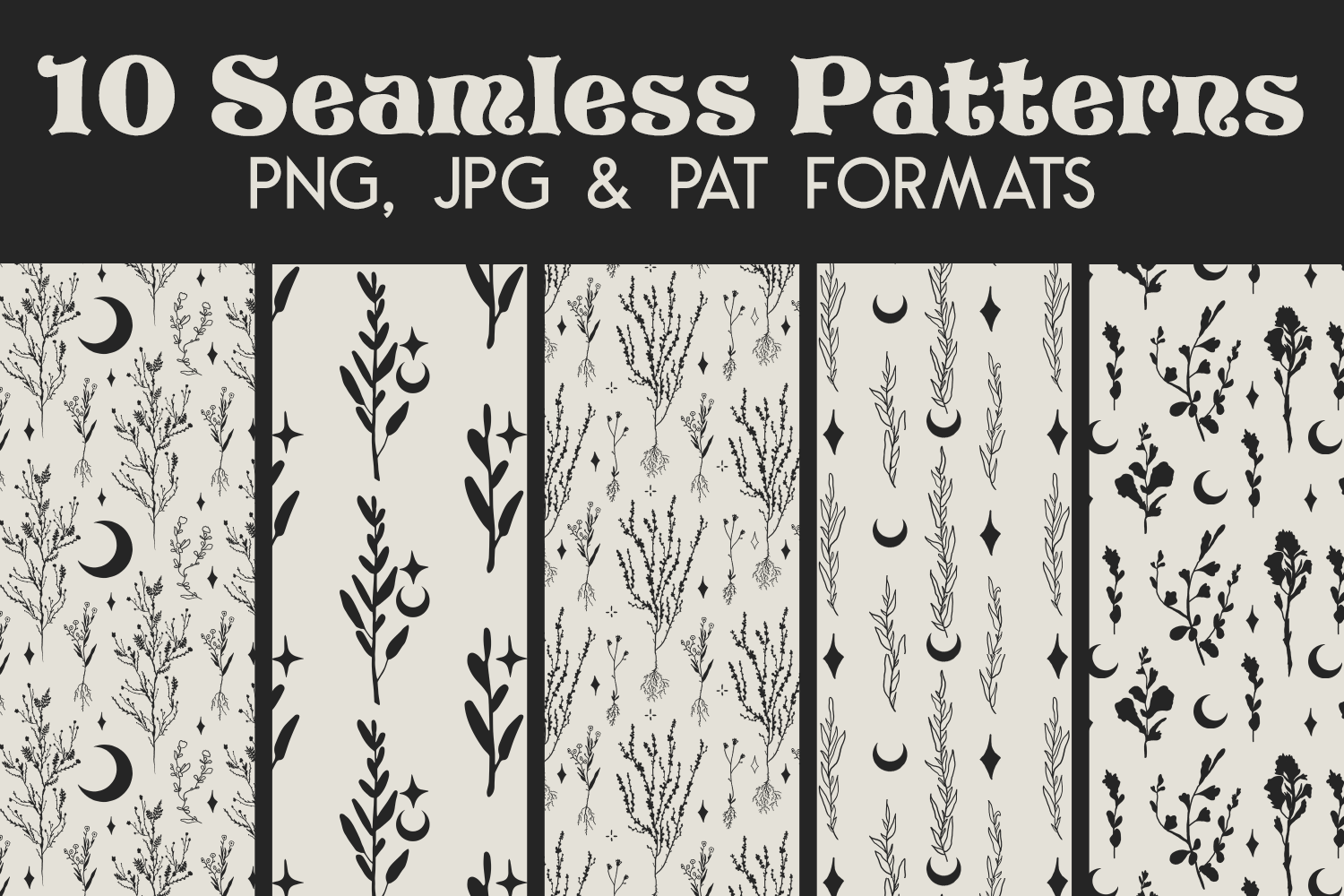 Grey Witchy Moon Digital Paper - Seamless Photoshop Pattern example image 1