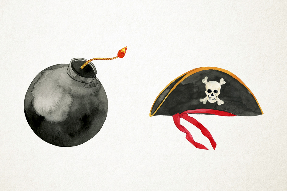Watercolor Pirates Clipart, Pirates Clip Art, Pirates PNG example image 4
