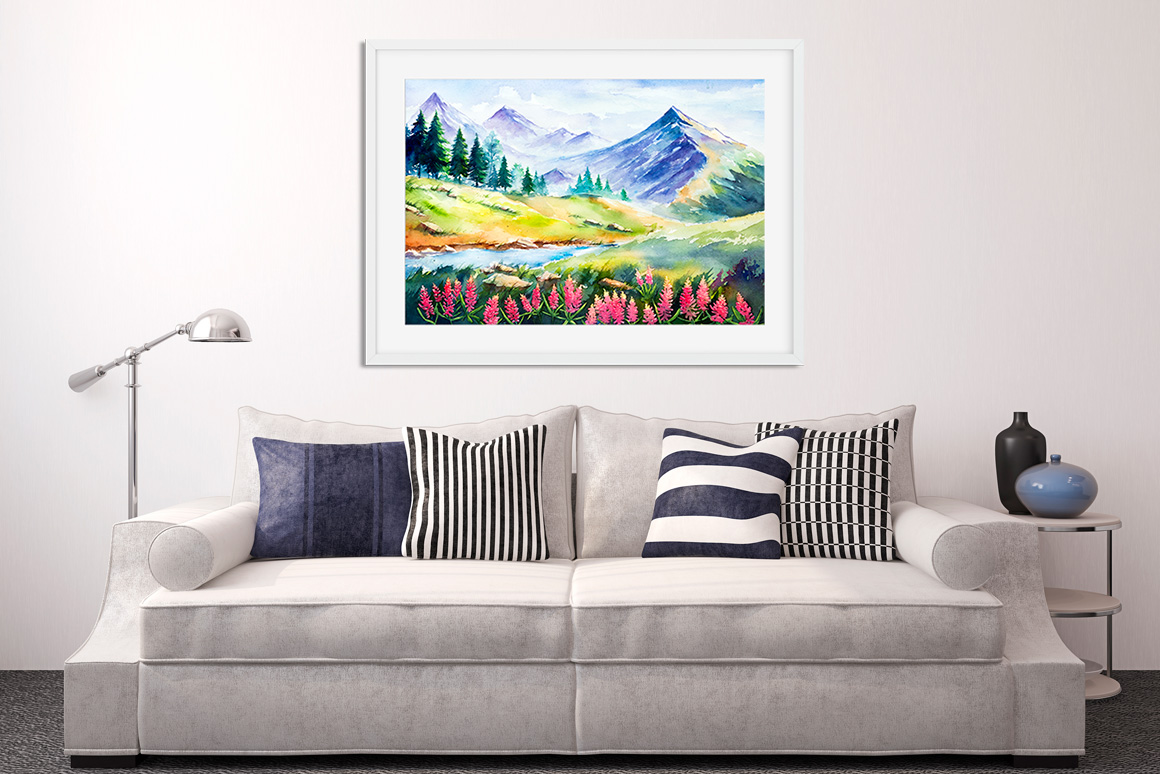Spring Landscapes. Watercolor. example image 3