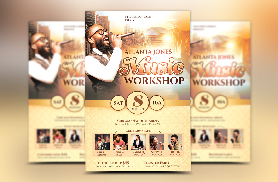 Church Music Workshop Flyer Template by | Design Bundles