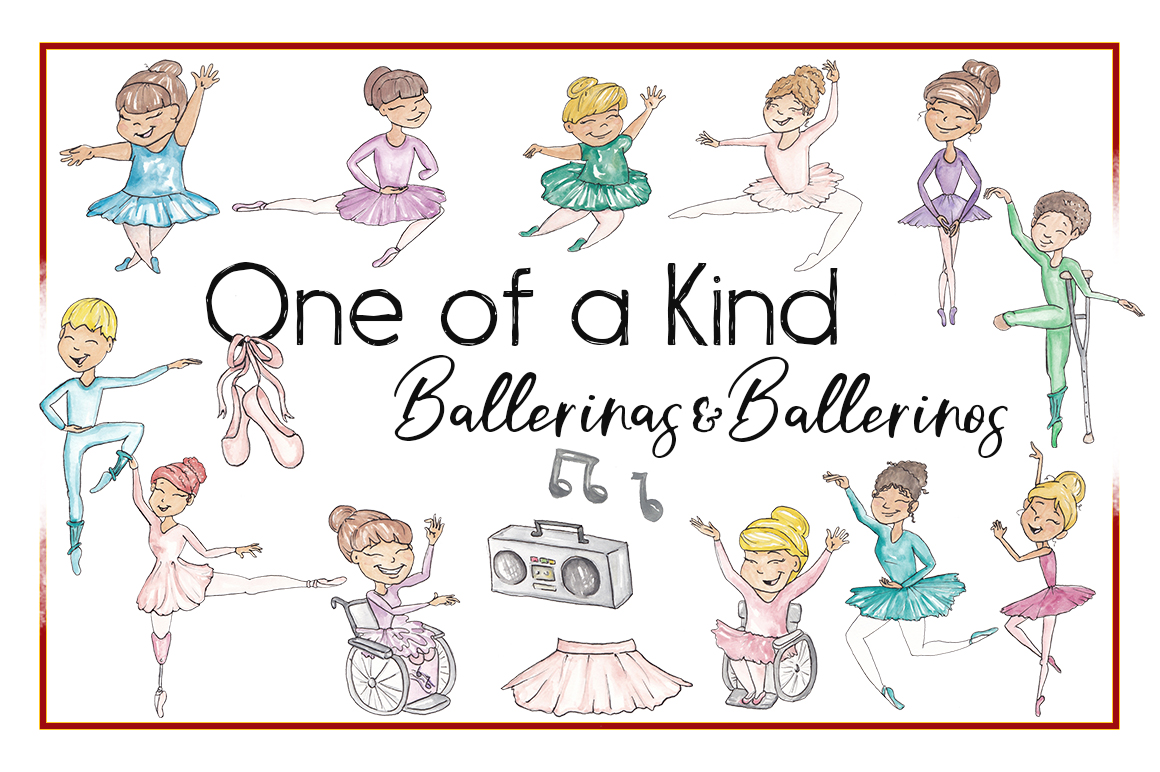 Ballerinas, Ballet Clipart, Amputee, Handicapped,Watercolor example image 1