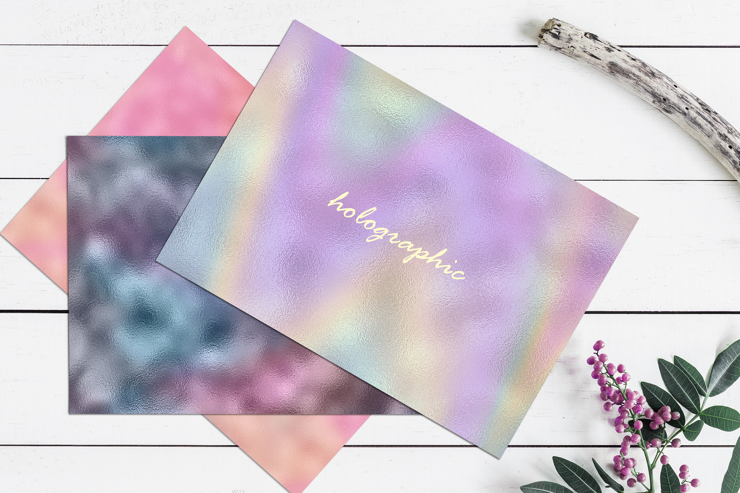 10 Iridescent Textures - Seamless Holographic Foil example image 3
