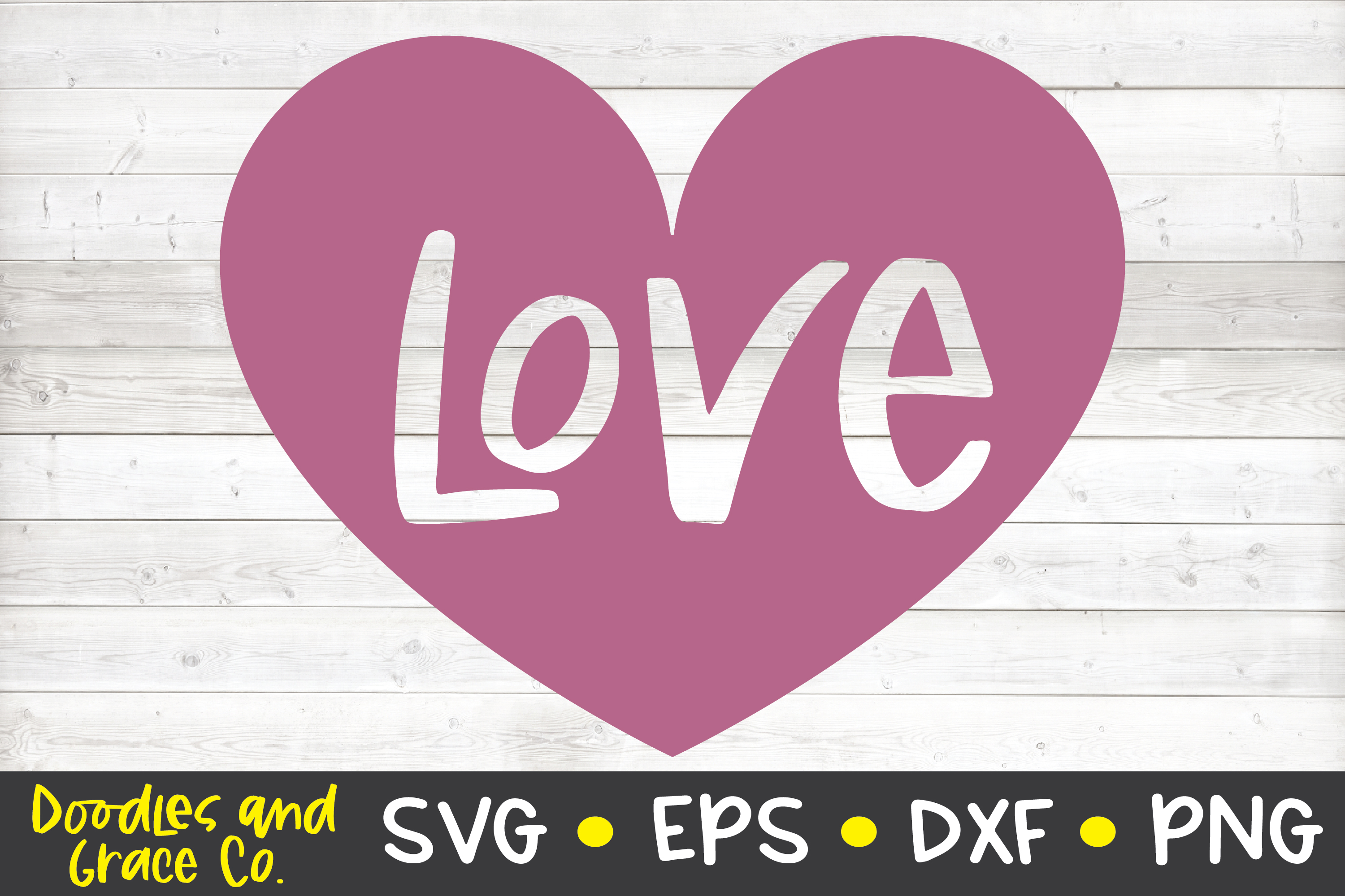 Love Heart SVG - DXF - EPS - PNG example image 2