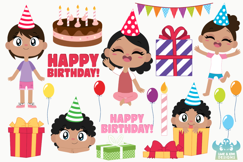 Birthday Party Girls 2 Clipart, Instant Download Vector Art example image 3