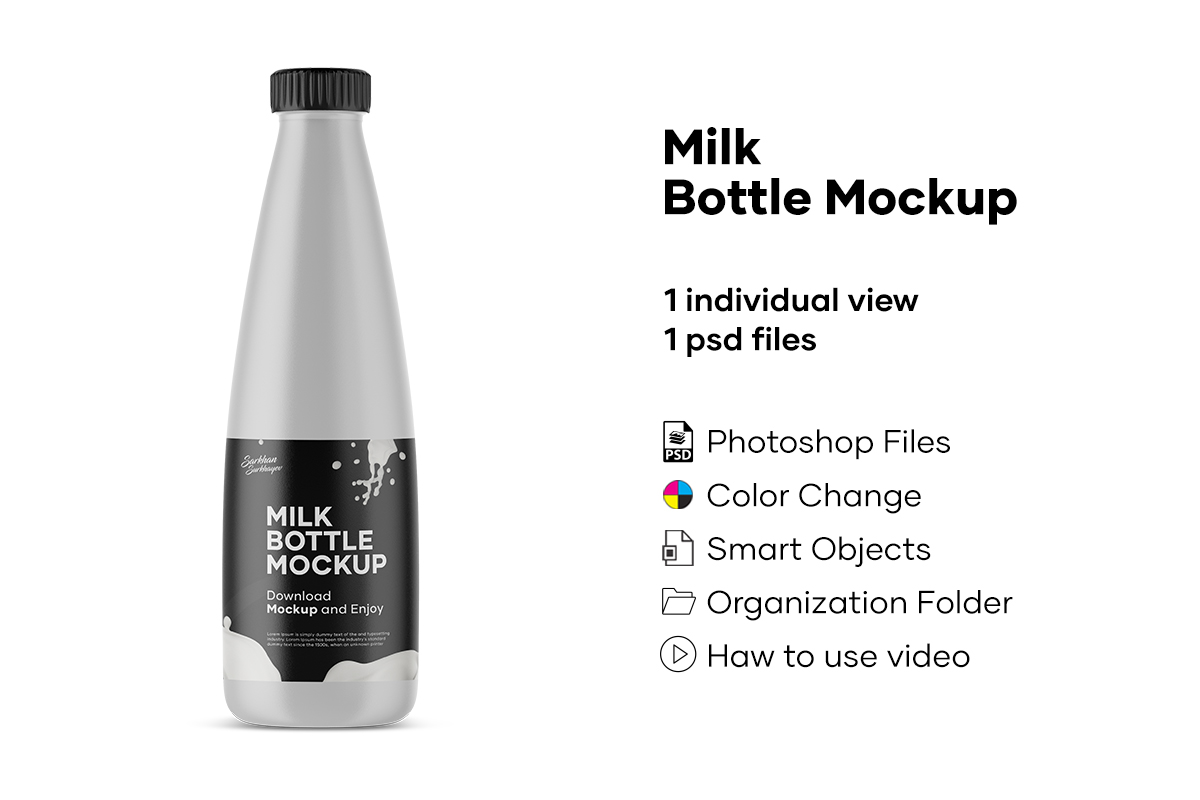 Milk Bottle Mockup example image 1