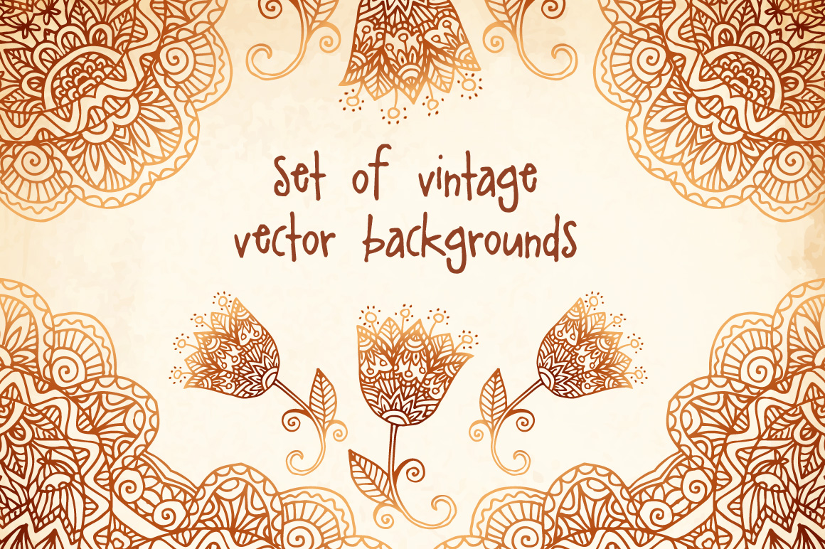 Set of 6 vintage vector backgrounds example image 1