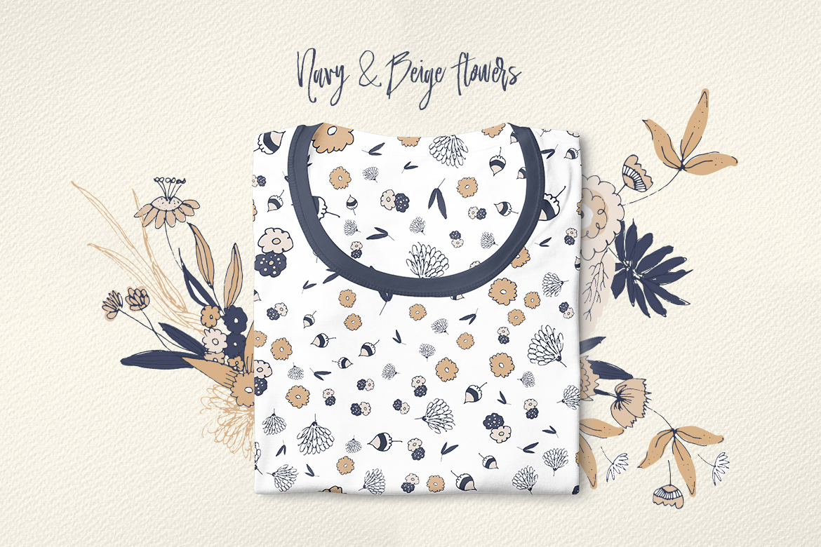 Navy and Beige Flowers example image 5
