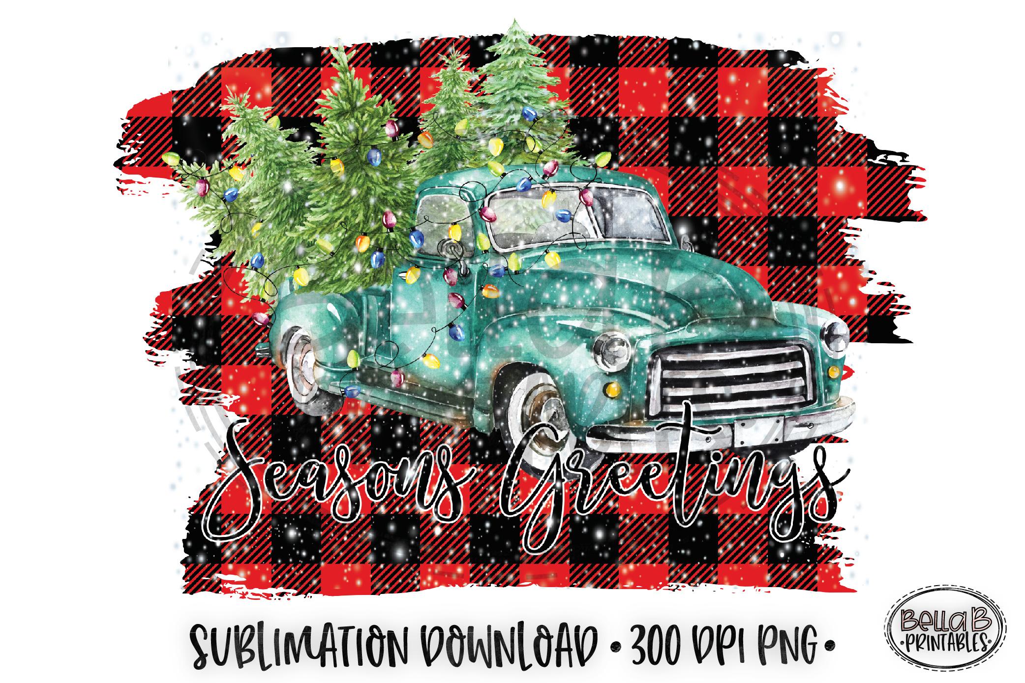 Christmas Sublimation Design, Seasons Greetings Sublimation example image 1