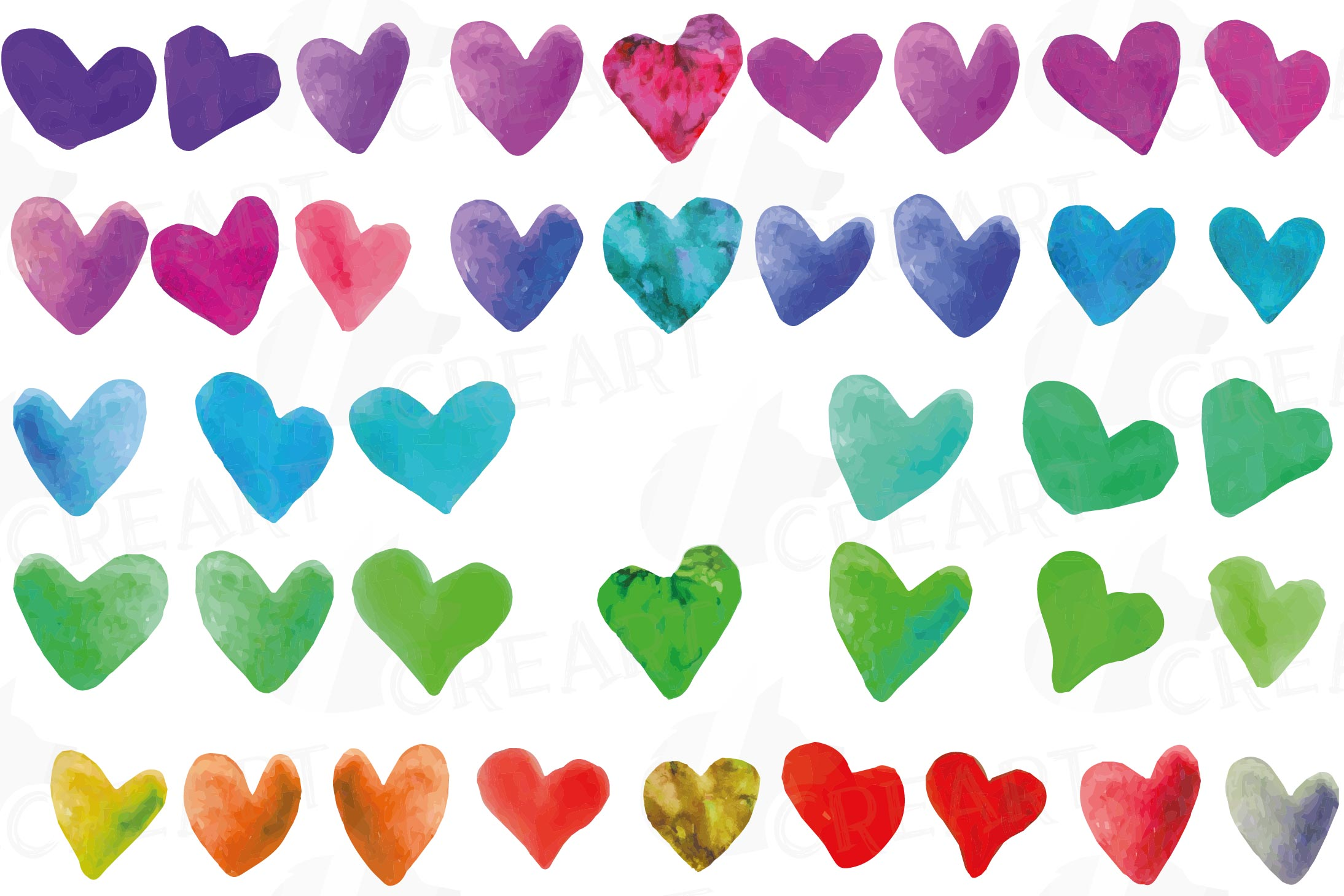Watercolor little hearts clip art, colorful Valentine example image 20