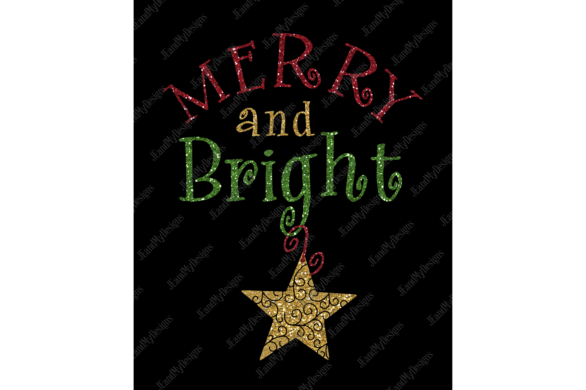 Merry and Bright SVG, JPEG, PNG, EPS, DXF example image 3