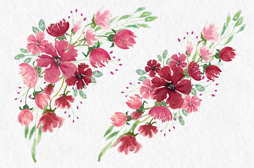 Watercolor clip art bundle: 'Pink Profusion' example image 5