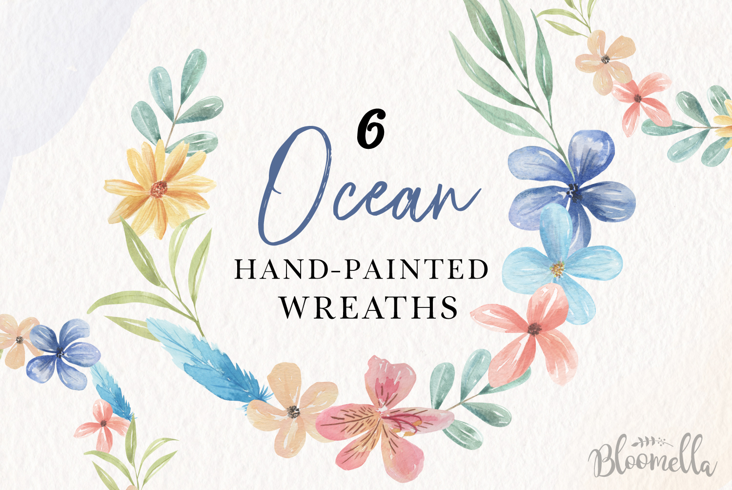 Floral 6 Wreath Watercolor Floral Ocean Blue Garlands Flower example image 1