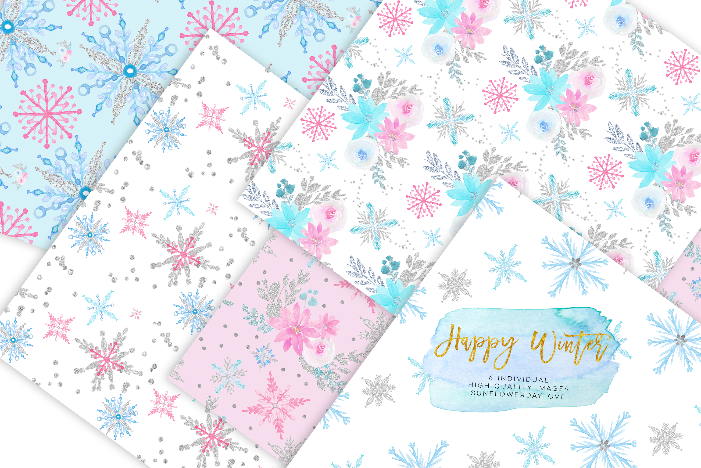 Winter Digital Paper, Winter Paper Pad, Glitter Pattern example image 2