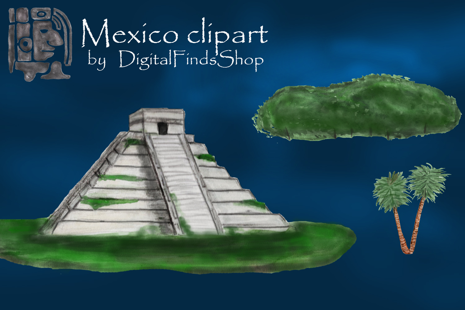 Mayan clipart, ancient civilizations of Mexico watercolor example image 6