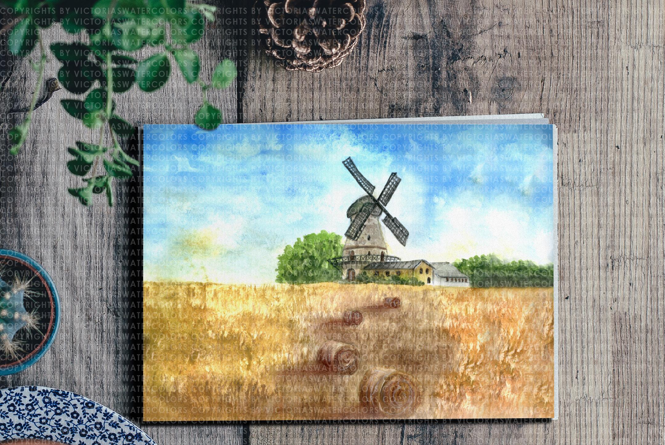 Watercolor Landscape Bundle Watercolor Beach Sunset Galaxy Texture Watercolor Farm Windmill example image 3