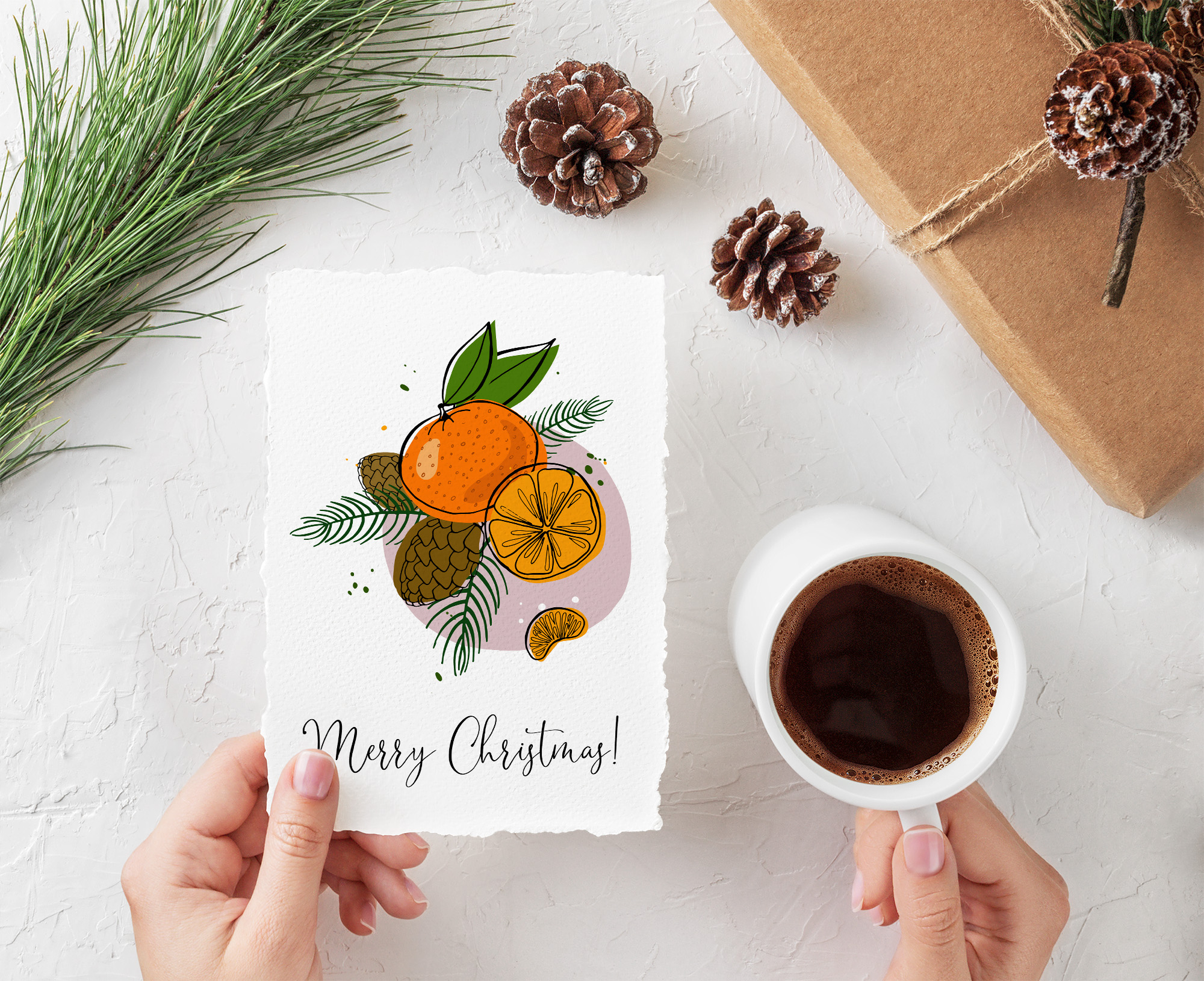 Tangerines Christmas Vector Clipart example image 5