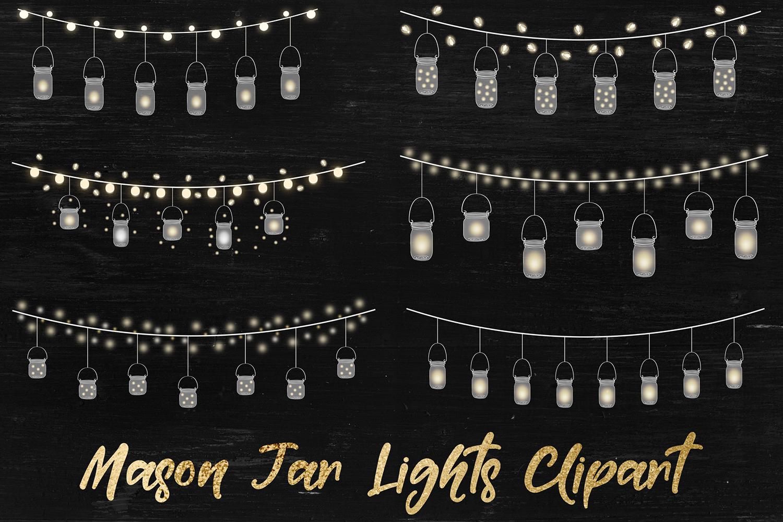String Lights Clipart, Mason Jar Lights Overlays example image 1