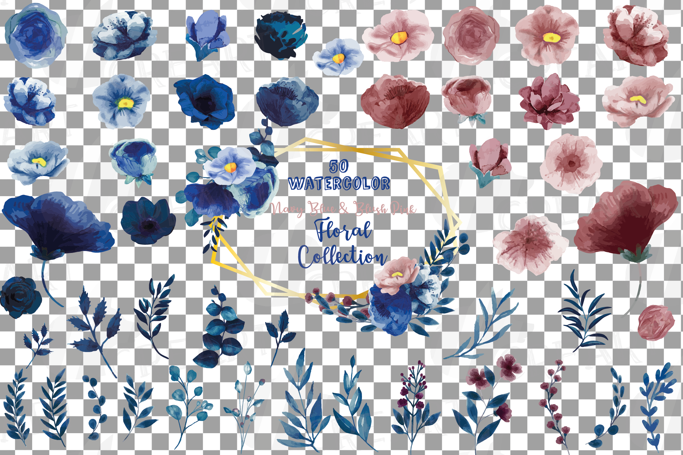 Floral navy watercolor, dark indigo and blush pink flowers example image 2