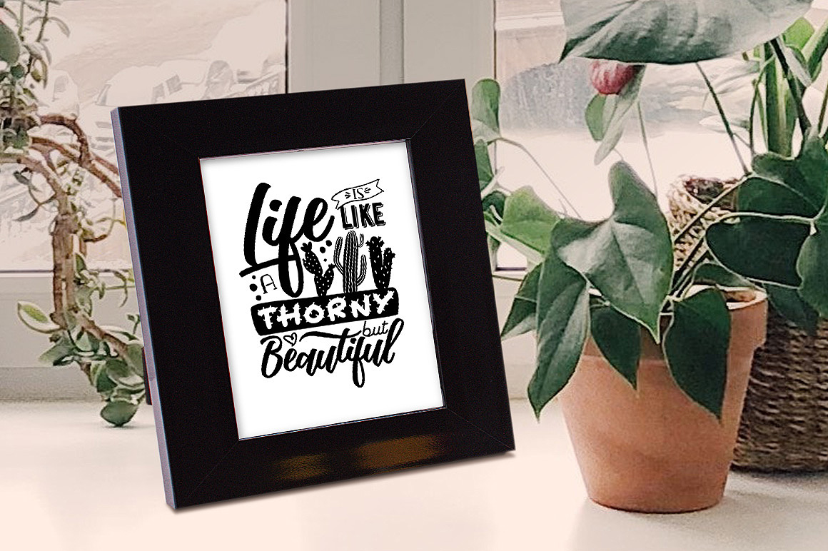 Life is like a cactus... - Vector Typography Design example image 2