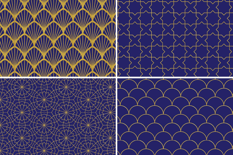 8 Seamless Moroccan Patterns - Gold & Cobalt Blue Set 1 example image 6