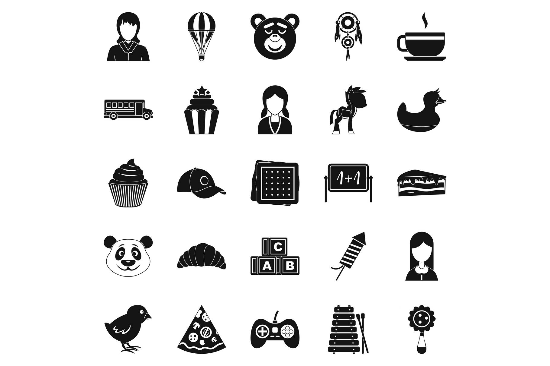 Kid center icons set, simple style example image 1