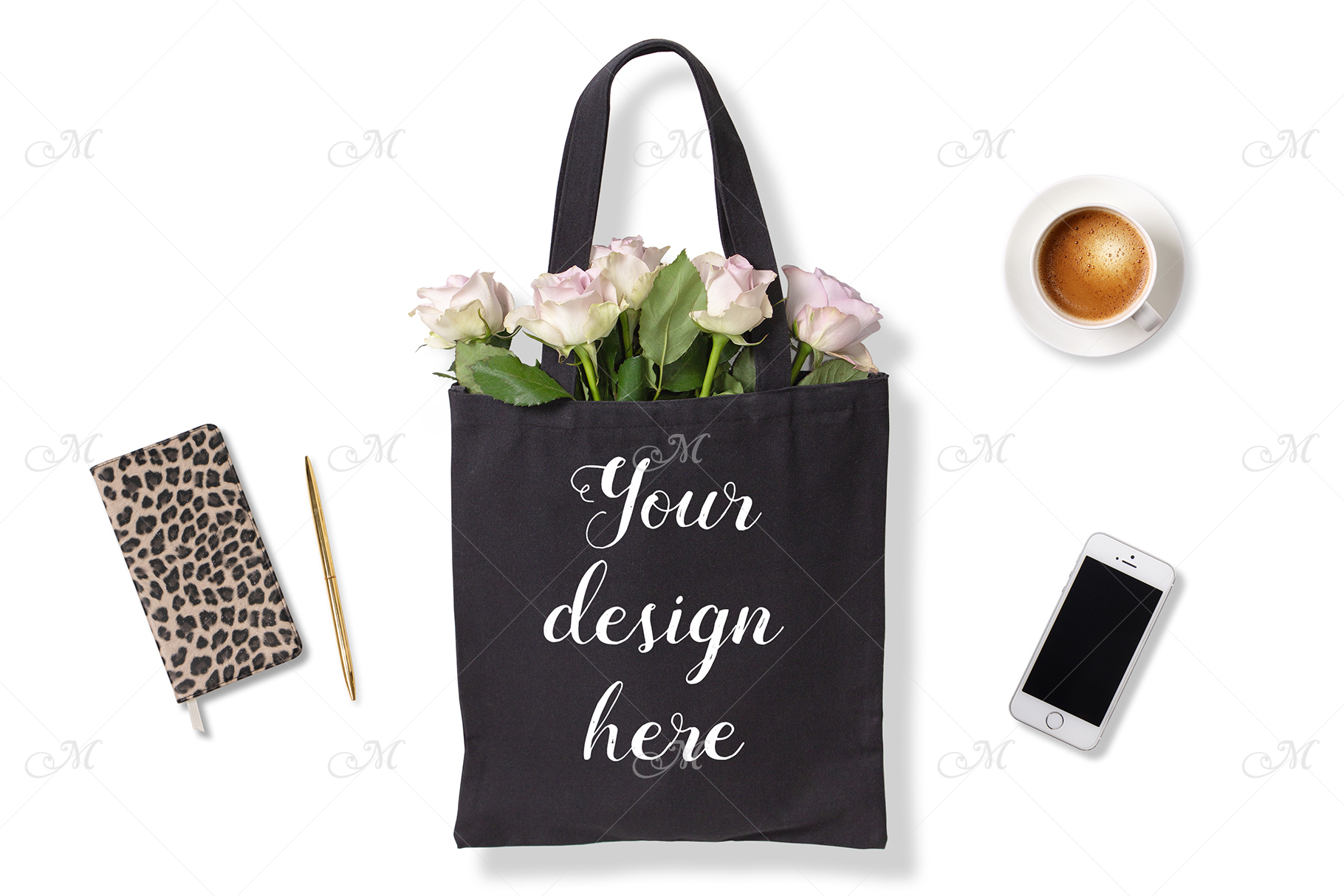Black Tote Bag w Roses. PSD Mock up example image 2