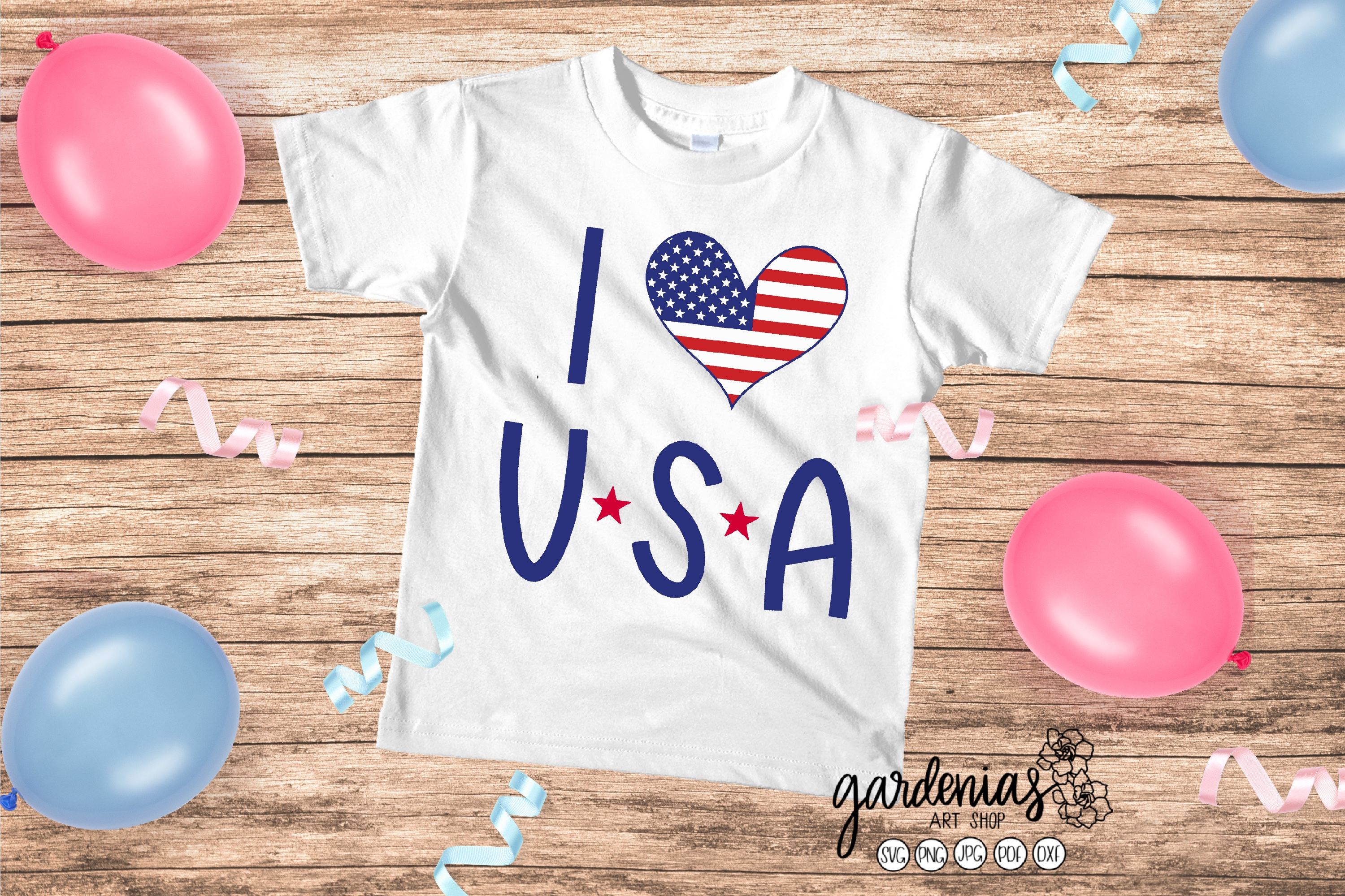 I Love USA SVG | America Heart Flag Cut File | 4th of July example image 1