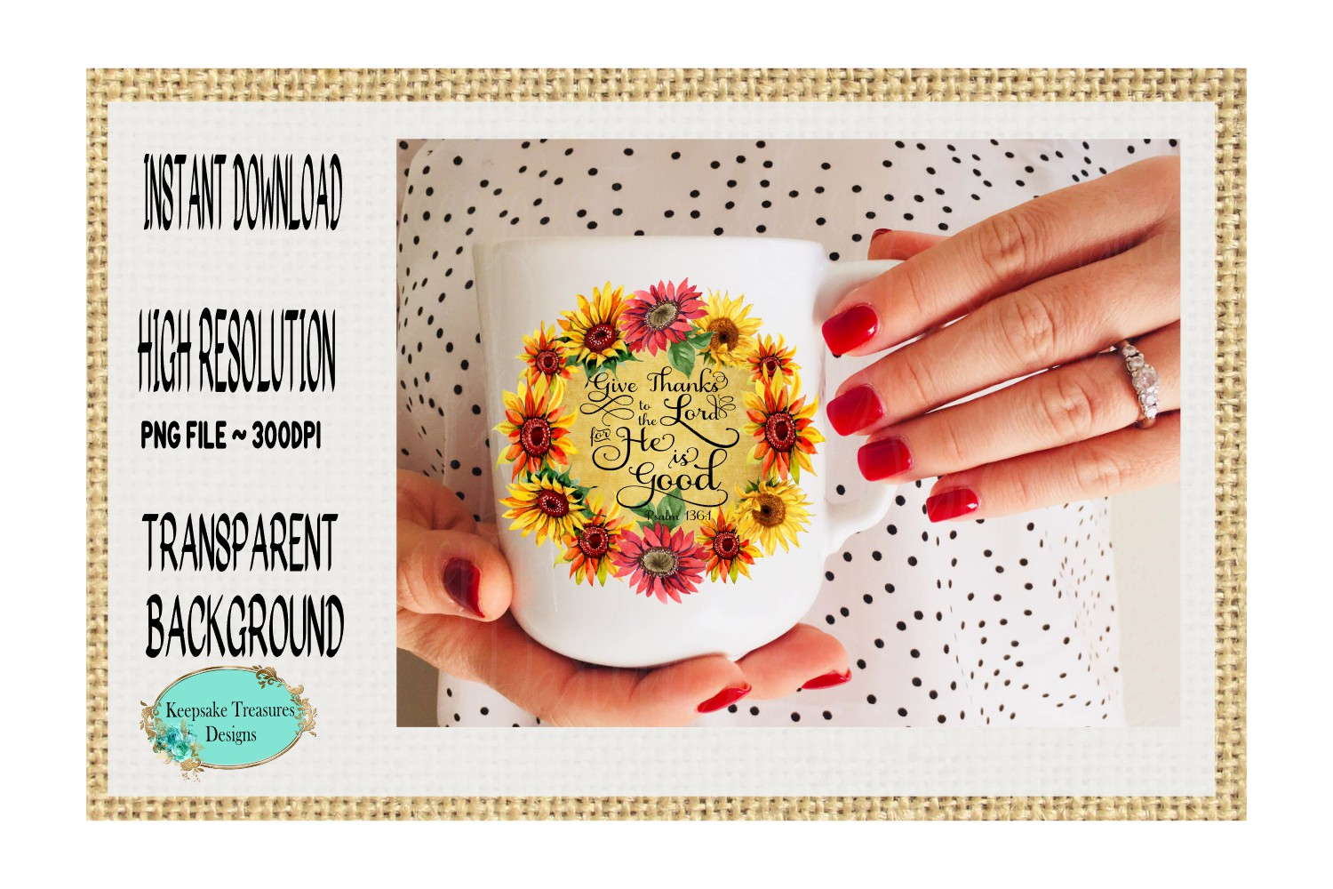 Give Thanks to The Lord, Psalms 136, Sublimation Design example image 2