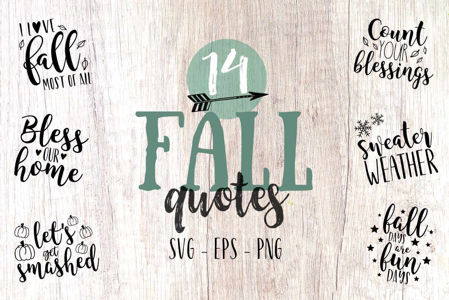 Fall Quotes: Fall Quote Bundle, SVG, PNG, EPS