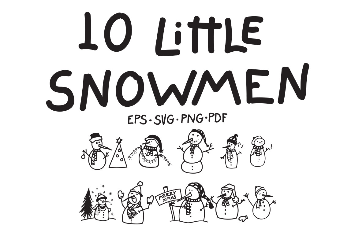 10 Little Snowmen Vectors example image 1