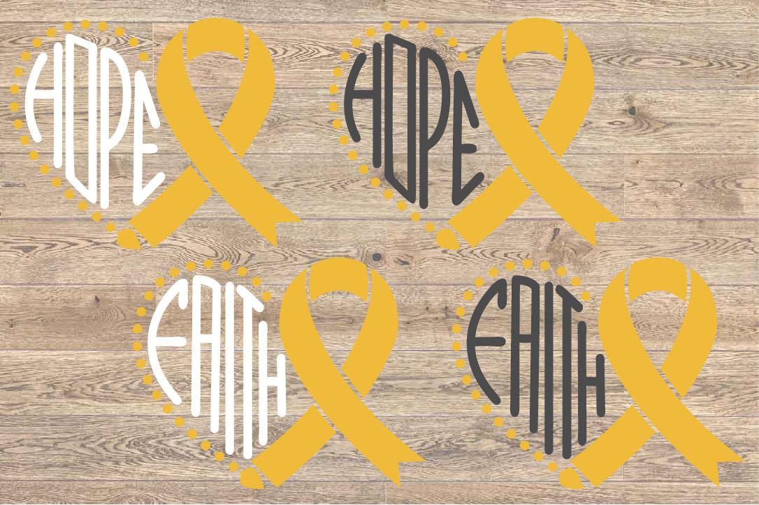 Faith Hope Heart SVG Childhood Cancer Awareness ribbon 1558 example image 2