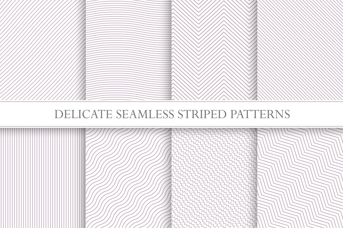 Delicate seamless striped patterns. example image 1